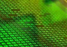 Финансовые данные зеленого цвета на экране Концепция данным по финансов Стоковое фото RF