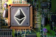 Финансовые деньги технологии и интернета - минирование монтажной платы и монетка Ethereum ETH стоковая фотография
