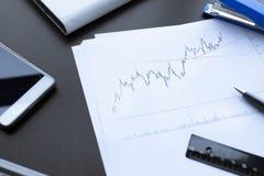 Финансовые диаграммы на таблице офиса Стоковая Фотография