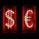 Финансовые знаки доллара и евро Индикатор пробки Nixie Стоковая Фотография