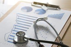финансовые диаграмма отчета и медицинское заключение и stetho калькулятора стоковая фотография rf
