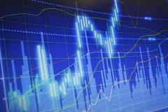 Финансовые диаграммы на большом табло Стоковые Фото