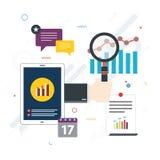Финансовые инвестиции, аналитик с отчетом о роста иллюстрация вектора
