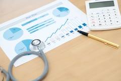 Финансовые медицинский осмотр или цена здравоохранения стоковые фото