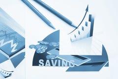 Финансовые отчеты, покрашенная диаграмма Стоковая Фотография RF