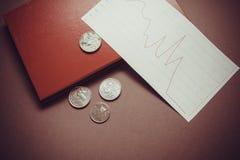 Финансовый кризис, монетки Стоковое Фото
