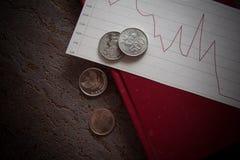 Финансовый кризис, монетки Стоковое Изображение RF