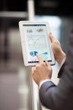 Финансовый план-график на экране таблетки Стоковые Изображения RF