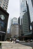 Финансовый район Азии Пекина центральный, Китай, современная архитектура, здания города много-легендарные Стоковое Изображение RF
