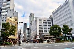 Финансовый район Японии Осака с высокорослыми офисными зданиями стоковая фотография