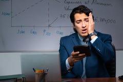 Финансовый специалист работая поздно в офисе стоковые фотографии rf