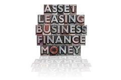 Финансовый стог слова letterpress Стоковая Фотография