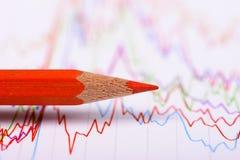 Финансовый успех выставок диаграммы и карандаша на фондовой бирже Стоковые Фотографии RF