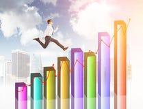Финансовый ход человека роста Стоковые Изображения