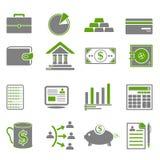 Финансы, значки дела зеленые Стоковое Фото