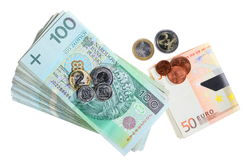 Финансы. Изолированная банкнота заполированности и евро Стоковые Изображения
