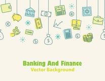 Финансы и банк, предпосылка денег, печать, безшовная Стоковые Фотографии RF