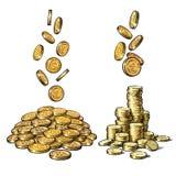 Финансы, комплект денег Эскиз падая золотых монеток в различных положениях, куча наличных денег, стога денег вычерченный вектор р иллюстрация вектора