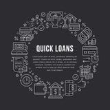 Финансы, линия значки шаблона круга займа денег плоская Быстрое утверждение кредита, валютная операция, отсутствие наличных денег иллюстрация штока