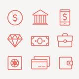 Финансы, оплаты и линия установленные значки денег Профинансируйте деньги, финансы дела, кредит денег банка, деньги наличных дене иллюстрация вектора