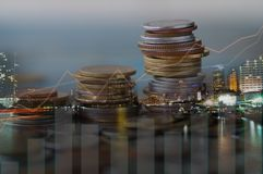 Финансы, прописной банк и концепция вклада, двойное exporsur Стоковые Фотографии RF