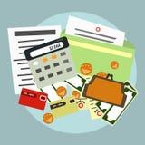Финансы, учет, поставка Калькулятор, документы, деньги вектор Стоковая Фотография RF