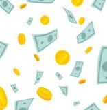 финансы яичка диетпитания принципиальной схемы предпосылки золотистые европейское падая небо дождя дег Банкноты и монетки падая о Стоковая Фотография
