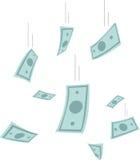 финансы яичка диетпитания принципиальной схемы предпосылки золотистые европейское падая небо дождя дег Банкноты падая от неба Илл Стоковая Фотография
