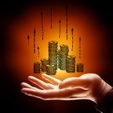 финансы яичка диетпитания принципиальной схемы предпосылки золотистые стоковые изображения