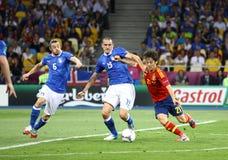 Финальная игра 2012 ЕВРО UEFA Испания против Италии Стоковые Изображения