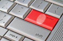 Фингерпринт выведенный на клавиатуру Стоковые Изображения