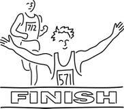 финишная черта бегунки шаржа Стоковая Фотография RF