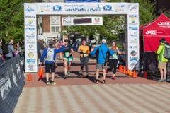 Финишная черта - голубое †«Roanoke марафона Риджа, Вирджиния, США Стоковые Изображения