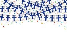 Финляндия сигнализирует предпосылку гирлянды белую с confetti, овсянкой вида на День независимости Финляндии иллюстрация штока