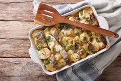 Финская еда: Сотейник с картошками и сельди закрывают вверх в ба Стоковые Фотографии RF