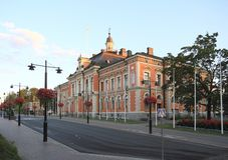 Финляндия, Куопио: Здание муниципалитет Стоковая Фотография RF