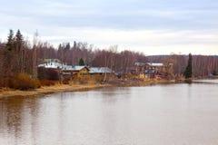 Финляндия Дома на береге реки Porvoo Стоковое Изображение