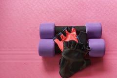 Фиолетовая гантель с перчатками фитнеса женщин на циновке йоги для тренировки Стоковое Изображение RF