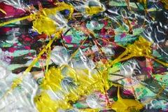 фиолетовая голубая щетка золота штрихует краску Предпосылка конспекта краски акварели Стоковое Изображение RF