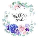 Фиолетовая гортензия, роза пинка, фиолетовая радужка, гвоздика, голубая мята e иллюстрация вектора