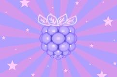 Фиолетовая ежевика на striped предпосылке с иллюстрацией звезд 3D Стоковые Фотографии RF