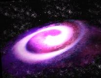 Фиолетовая иллюстрация спиральной галактики 3d Стоковая Фотография