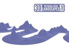 Фиолетовая лента корчась полигональные горы Стоковое Фото