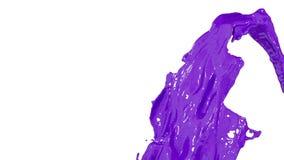 Фиолетовая подача краски мухы фонтана вверх в воздухе с много брызгает Снятый фиолетовой жидкости как краска автомобиля или цвета бесплатная иллюстрация