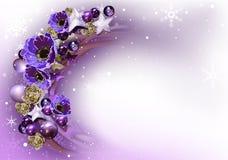 Фиолетовая предпосылка венка рождества Стоковые Изображения