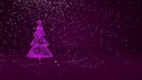 Фиолетовая рождественская елка от частиц зарева сияющих на левой стороне в широкоформатном всходе Тема зимы на Xmas или Новый Год иллюстрация вектора