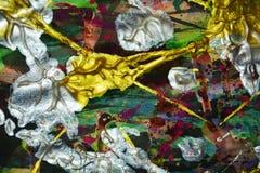 Фиолетовая серебряная голубая щетка зеленого золота штрихует краску Предпосылка конспекта краски акварели Стоковые Изображения