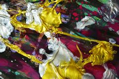 Фиолетовая серебряная голубая щетка зеленого золота штрихует краску акварели Предпосылка конспекта краски акварели Стоковые Изображения