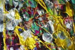 фиолетовая серебряная голубая щетка золота штрихует краску Предпосылка конспекта краски акварели Стоковое фото RF