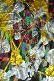 фиолетовая серебряная голубая щетка золота штрихует краску Предпосылка конспекта краски акварели Стоковое Изображение